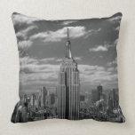 Black & White landscape of New York City skyline Pillow