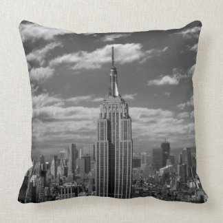 Black & White landscape of New York City skyline Throw Pillow