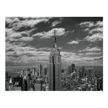 USA Themed Black & White landscape of New York City skyline Postcard