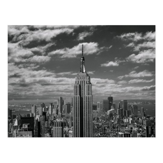 Black White Landscape Of New York City Skyline Postcard