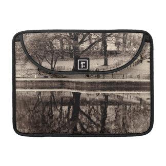 Black & White Landscape Winter Tree - Central Park Sleeves For MacBook Pro