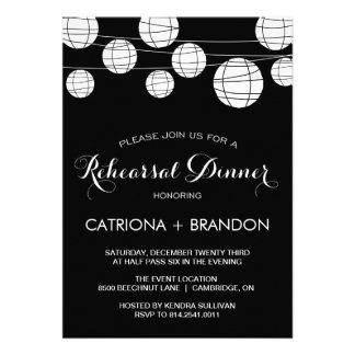 BLACK & WHITE LANTERNS REHEARSAL DINNER INVITATION