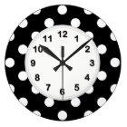 Black White Large Polka Dot Pattern Large Clock