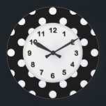 """Black White Large Polka Dot Pattern Large Clock<br><div class=""""desc"""">Black and White Large Polka Dots Pattern A stylish, modern, chic large Polka Dotted pattern in black and white. You can easily customize this with your own images and / or text. If you would like this pattern in other colors, just drop us an email. 2013 &#169;FantabulousPatterns All rights reserved...</div>"""