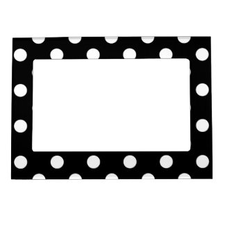 Black White Large Polka Dot Pattern Magnetic Photo Frame