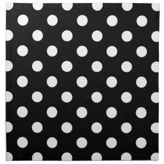 Black White Large Polka Dot Pattern Printed Napkin