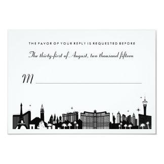 Black & White Las Vegas Skyline Wedding RSVP Card