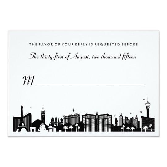 Black & White Las Vegas Skyline Wedding RSVP Card   Zazzle.com