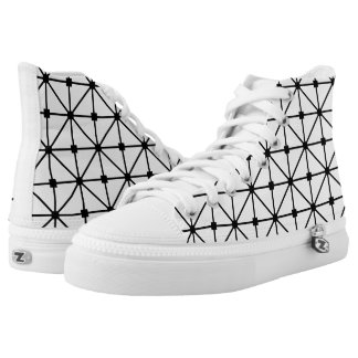 Black White Lattice Pattern High-Top Sneakers