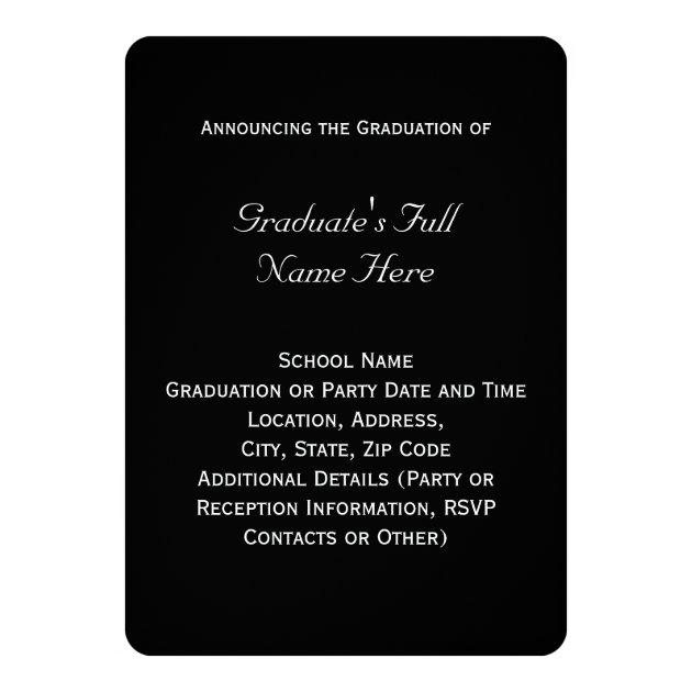 Black/White Laurel Law School Graduation 5x7 Paper Invitation Card (back side)