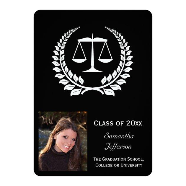 Black/White Laurel Law School Graduation 5x7 Paper Invitation Card