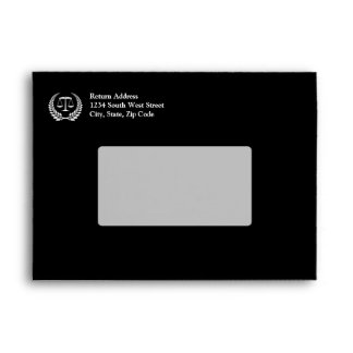 Black/White Laurel Law School Graduation Envelopes