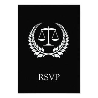 Black/White Laurel Law School Graduation 3.5x5 Paper Invitation Card