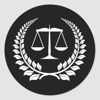 Black/White Laurel Law School Graduation Classic Round Sticker