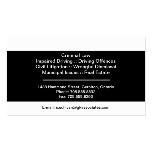 Black & White Law Business Card - Lawyer Attorney (back side)