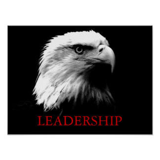 Black White Leadership Eagle Eyes Poster