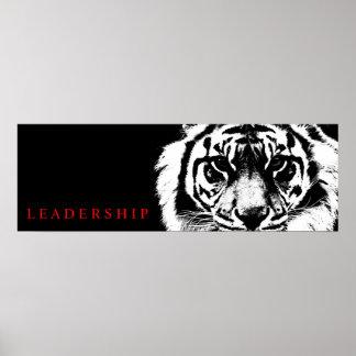 Black & White Leadership Tiger Poster Print