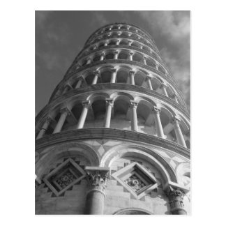 Black White Leaning Tower of Pisa From Below Italy Postcard