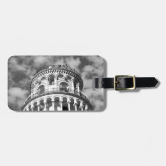 Black White Leaning Tower of Pisa Italy Bag Tag