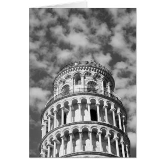 Black White Leaning Tower of Pisa Italy Card