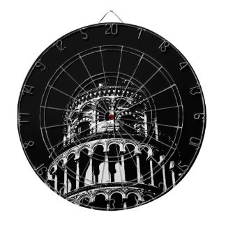 Black White Leaning Tower of Pisa Italy Dart Board