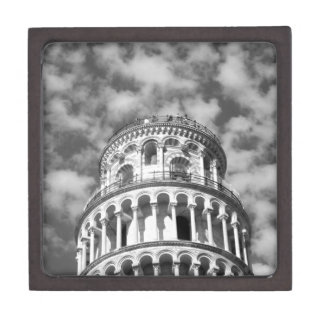 Black White Leaning Tower of Pisa Italy Gift Box