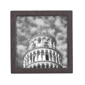 Black White Leaning Tower of Pisa Italy Jewelry Box