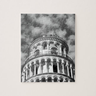 Black White Leaning Tower of Pisa Italy Jigsaw Puzzle