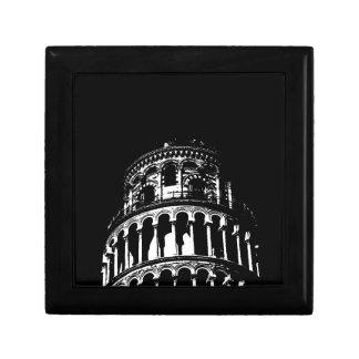 Black White Leaning Tower of Pisa Italy Keepsake Box