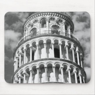 Black White Leaning Tower of Pisa Italy Mouse Pad