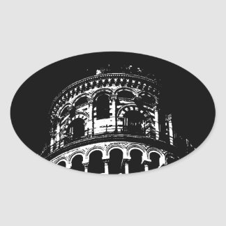 Black White Leaning Tower of Pisa Italy Oval Sticker