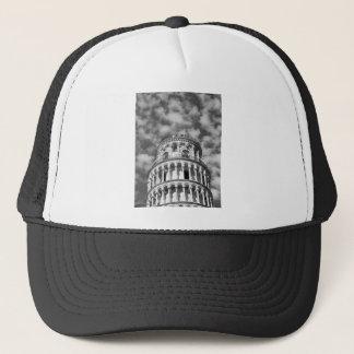 Black White Leaning Tower of Pisa Italy Trucker Hat