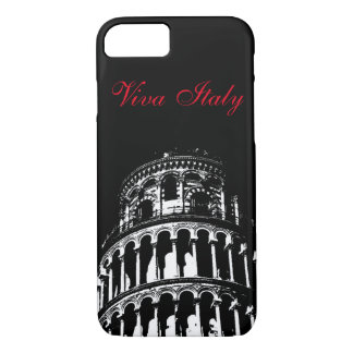 Black White Leaning Tower of Pisa Italy Viva Italy iPhone 8/7 Case