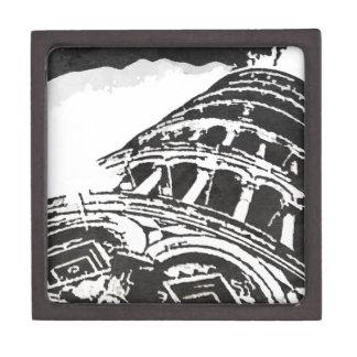 Black & White Leaning Tower Sketch Keepsake Box