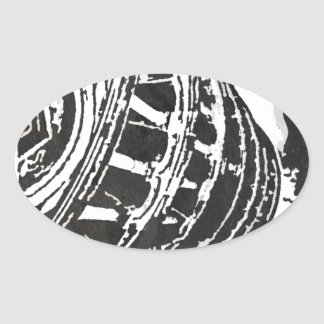Black & White Leaning Tower Sketch Oval Sticker