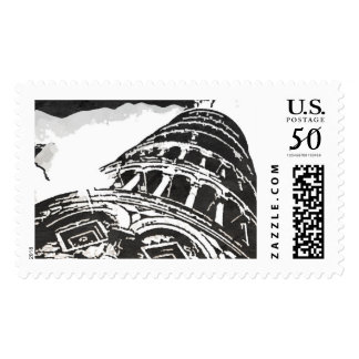 Black & White Leaning Tower Sketch Postage