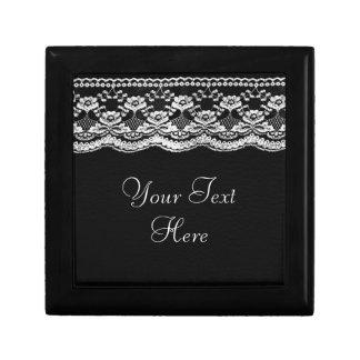 Black & White Leather & Lace Jewelry Box