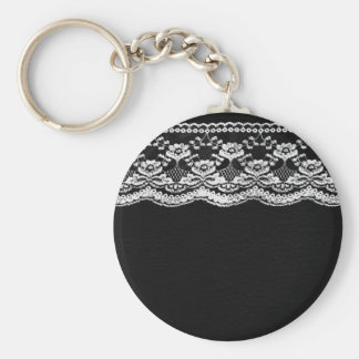 Black & White Leather & Lace Keychain