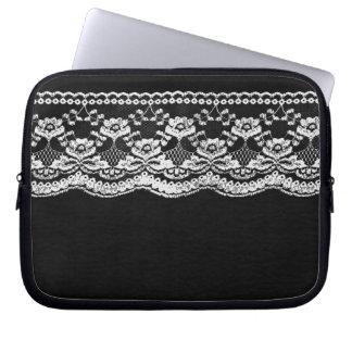 Black & White Leather & Lace Laptop Sleeve