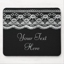 Black & White Leather & Lace Mouse Pad