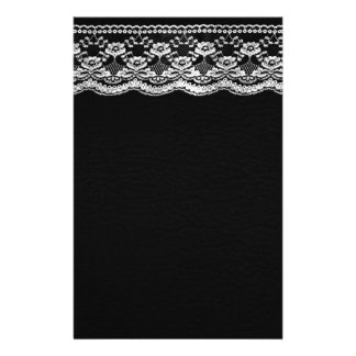 Black & White Leather & Lace Stationery