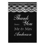 Black & White Leather & Lace Wedding Thank You Custom Invitation