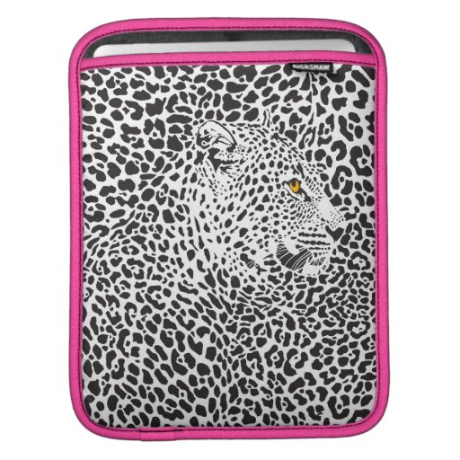 Black & White Leopard Camouflaged In Spots Pattern Sleeves For iPads