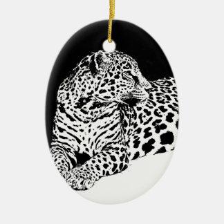 Black & White Leopard Ceramic Ornament