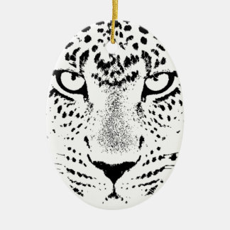 Black & White Leopard Eyes Ceramic Ornament