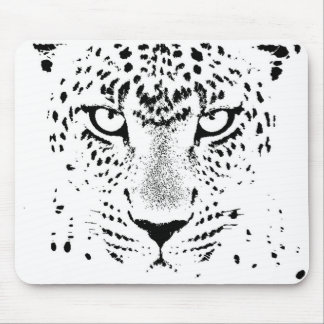 Black & White Leopard Eyes Mouse Pad