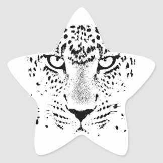 Black & White Leopard Eyes Star Sticker