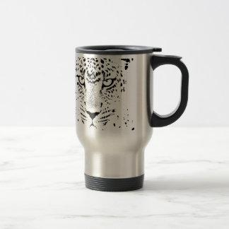 Black & White Leopard Eyes Travel Mug