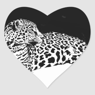 Black & White Leopard Heart Sticker