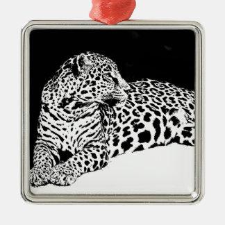 Black & White Leopard Metal Ornament